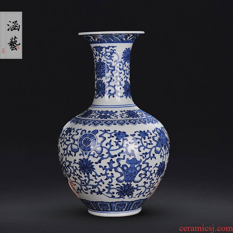 Jingdezhen blue and white ceramics antique bound branches in vases, new Chinese style flower arrangement sitting room adornment handicraft furnishing articles