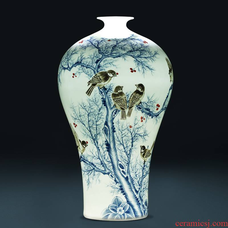 Jingdezhen ceramics famous hand - made thin foetus vases, flower arrangement of Chinese style household adornment handicraft furnishing articles sitting room
