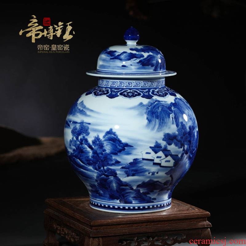 Jingdezhen ceramic vases, antique hand - made the general landscape of blue and white porcelain pot cover Chinese sitting room adornment is placed
