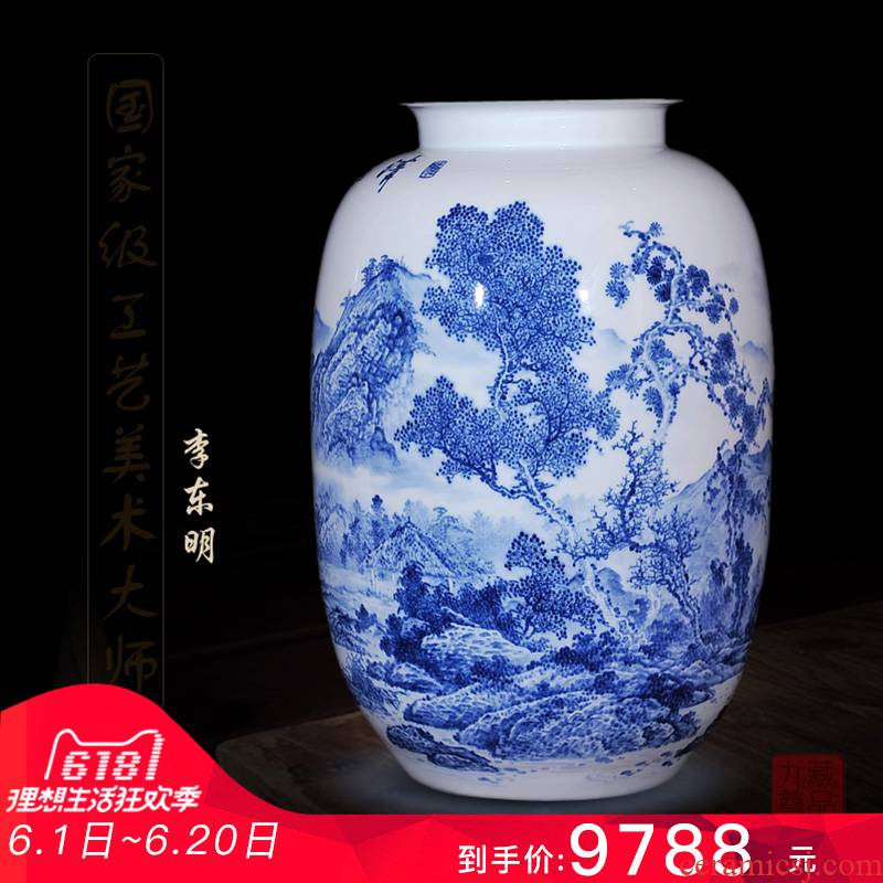 Jingdezhen ceramics dong - Ming li hand picked home sitting room crafts are blue and white porcelain vase