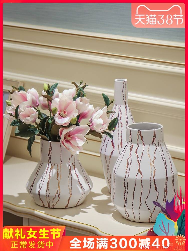 Nordic ceramic vase furnishing articles I and contracted European ornamental flower arrangement sitting room dried flowers, desktop small pure and fresh and vase