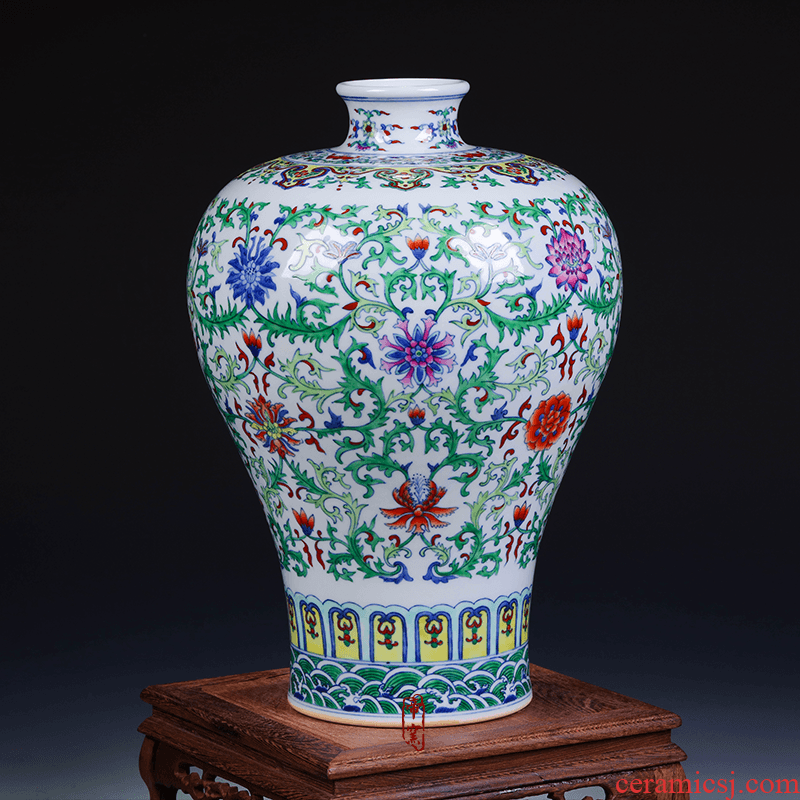 Antique hand - made porcelain of jingdezhen ceramics bucket color auspicious flower vase classical Chinese style home furnishing articles