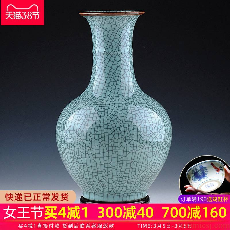 Jingdezhen ceramic vase furnishing articles flower arranging archaize sitting room up with porcelain bottle flower implement Chinese style household decorations