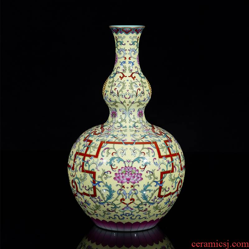 Jia lage jingdezhen hand - made porcelain YangShiQi up royal porcelain enamel Wan Shoulian gourd bottle
