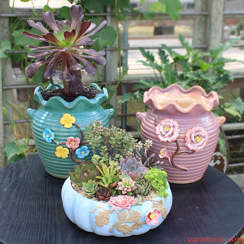 Large - diameter fleshy flowerpot ceramic sale money plant to sell household contracted creative zhuang zi mage platter extra Large