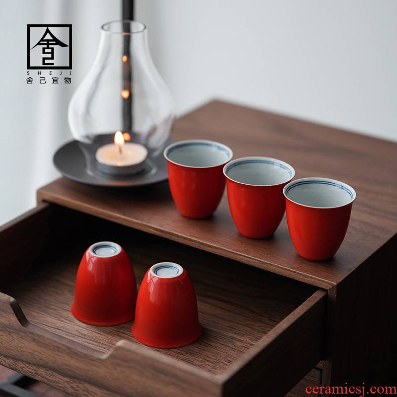Coral red jingdezhen ceramic sample tea cup cup kung fu masters cup small cups cups single cup of tea poly real incense cup