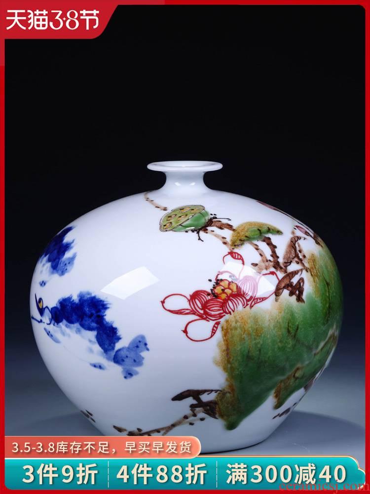 Jingdezhen ceramics hand - made modern Chinese blue and white porcelain vases, flower arrangement sitting room crafts home decoration furnishing articles
