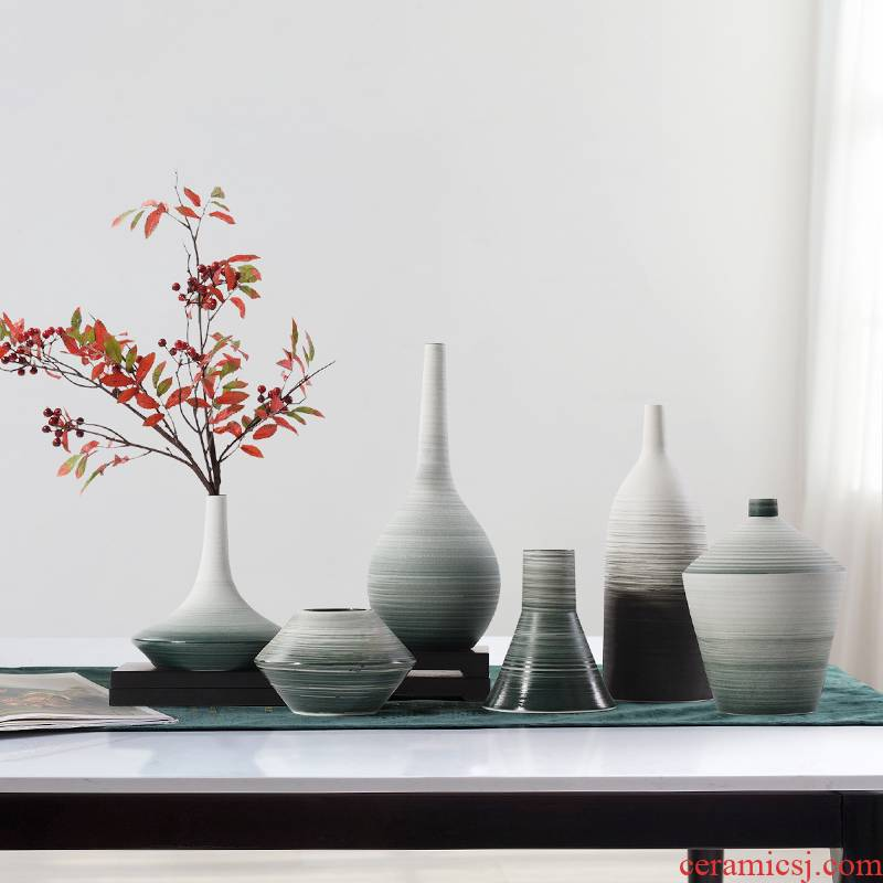 Creative new Chinese style ceramic vase furnishing articles sitting room ark face flower arranging device table example room porch soft decoration