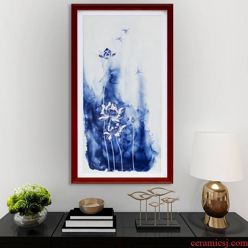 Modern home sitting room hangs a picture of jingdezhen blue and white porcelain plate painting lotus sitting room adornment bedroom wall mural furnishing articles