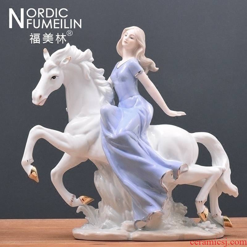 TV ark, furnishing articles at merrill lynch European ceramics decoration western girl riding a sitting room handicraft wedding gift