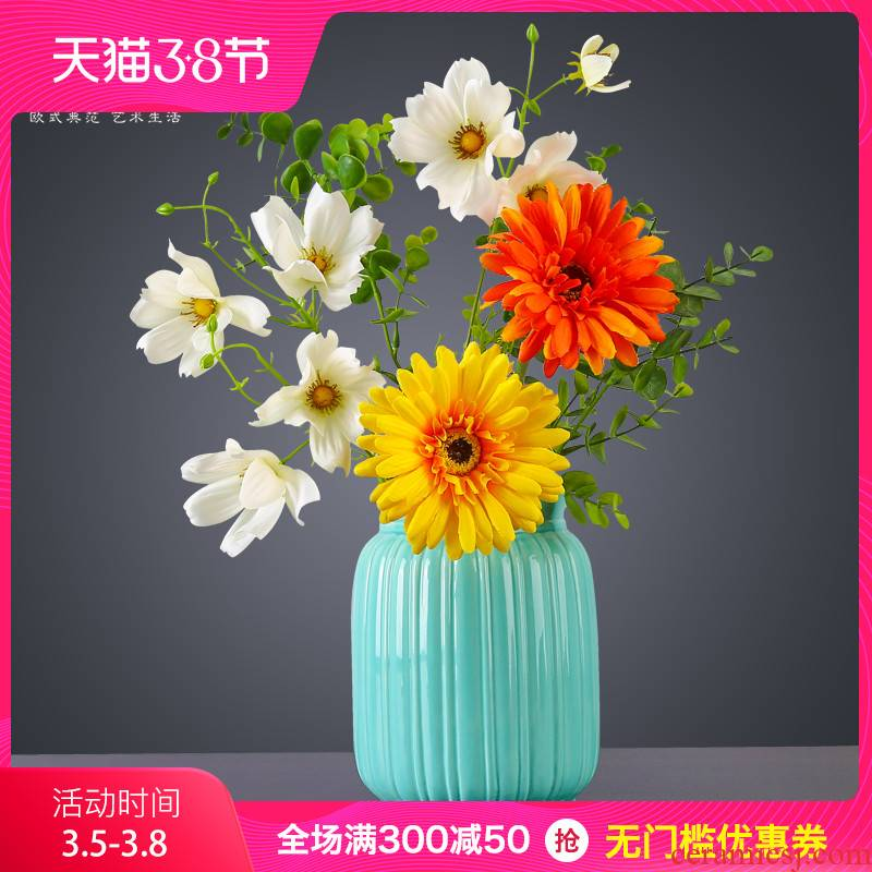 European simplicity vase creative fashion place blue ceramic white dried flowers floral sitting room home decoration