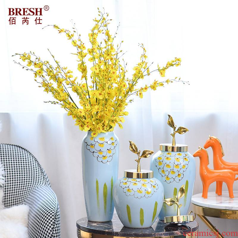 Light key-2 luxury ceramic vase copper flower arrangement suits for storage tank ou deserve to act the role of furnishing articles, the sitting room porch home decoration furnishing articles