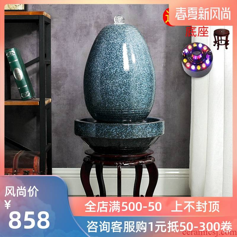 Jingdezhen to live in a small sitting room aquarium desktop furnishing articles ceramic water fountain creative version into gifts