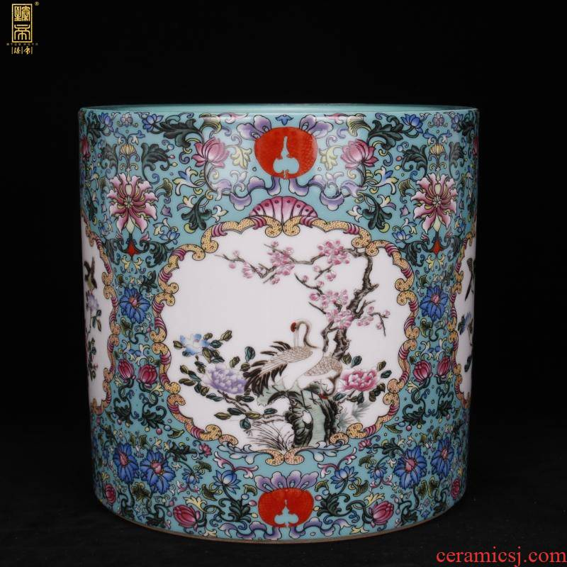 Archaize of jingdezhen porcelain enamel color big brush pot pen sea Chinese style household company hotel four desk office furnishing articles