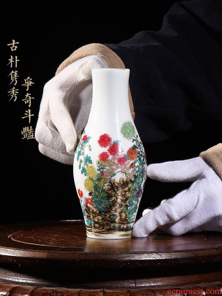 Jia lage YangShiQi hand - made qiu ju enamel olive bottle of indoor porch desk China vase