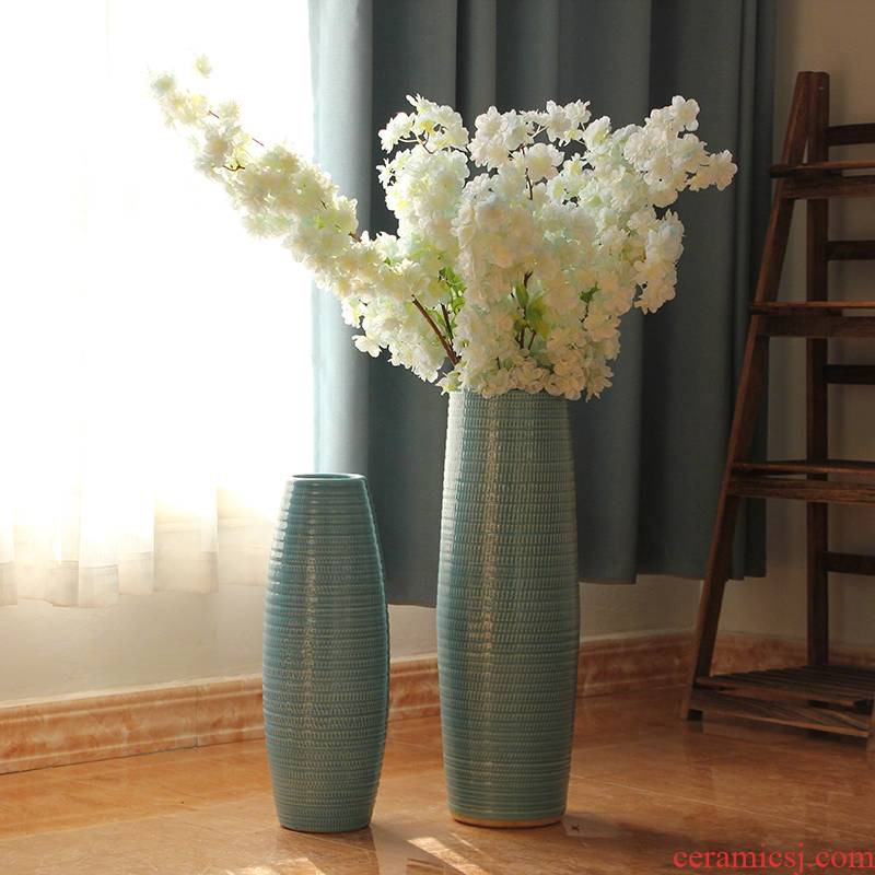 Jingdezhen ceramics I and contracted American European style living room floor sky blue vase decoration furnishing articles