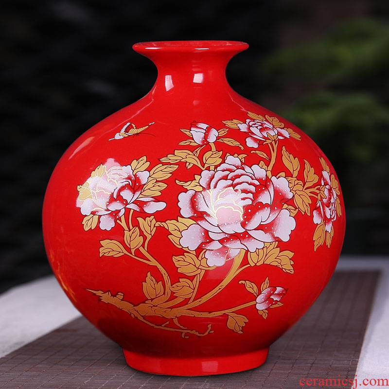 In landscape water garden of jingdezhen ceramics China red peony pomegranate vase household adornment new home furnishing articles