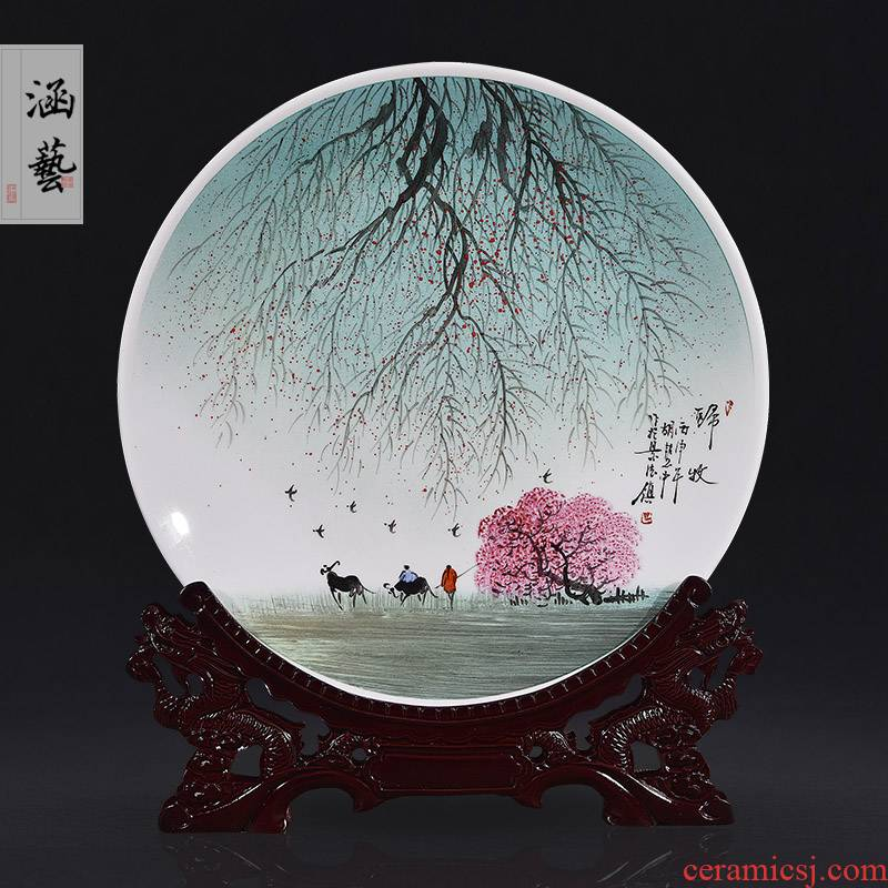 Jingdezhen ceramics hand - made decorative plate of the new Chinese style decorates porch sitting room adornment handicraft TV ark, furnishing articles