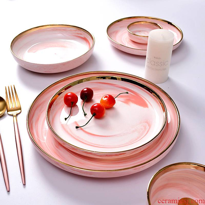 I and contracted up phnom penh marble European household tableware ceramic bowl dish soup bowl rainbow such as bowl bowl dish suits for