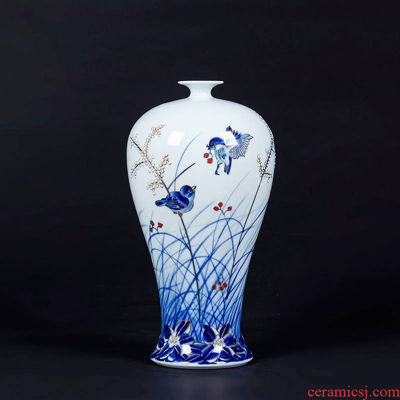 Jingdezhen ceramics by hand the see colour blue and white porcelain vase Chinese style living room rich ancient frame furnishing articles home decoration