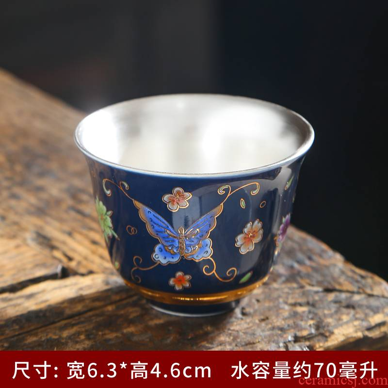 Contented life kung fu tea cups of jingdezhen ceramic sample tea cup hand - made bluish white porcelain tea cups personal single CPU