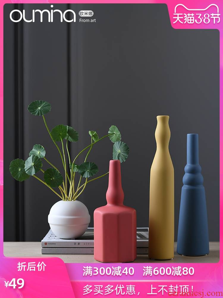 Morandi color small expressions using ceramic flower implement dried flower arranging flowers sitting room designer checking ornaments light key-2 luxury furnishing articles northern Europe