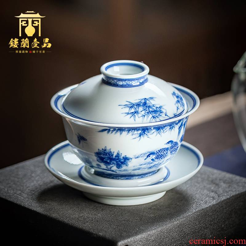 Jingdezhen blue and white maintain ceramic painting of flowers and three only a single large household kung fu tea tea bowl cups tureen