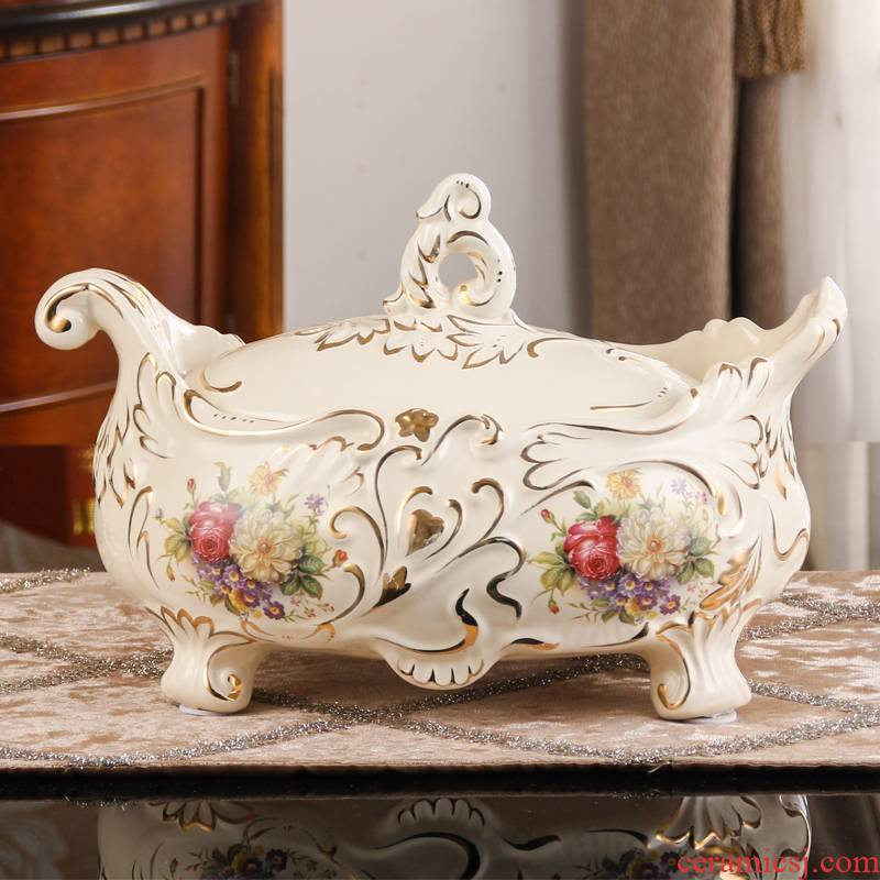 SAN road fort European sitting room compote candy box creative furnishing articles home decoration ceramic tea table with cover fruit bowl