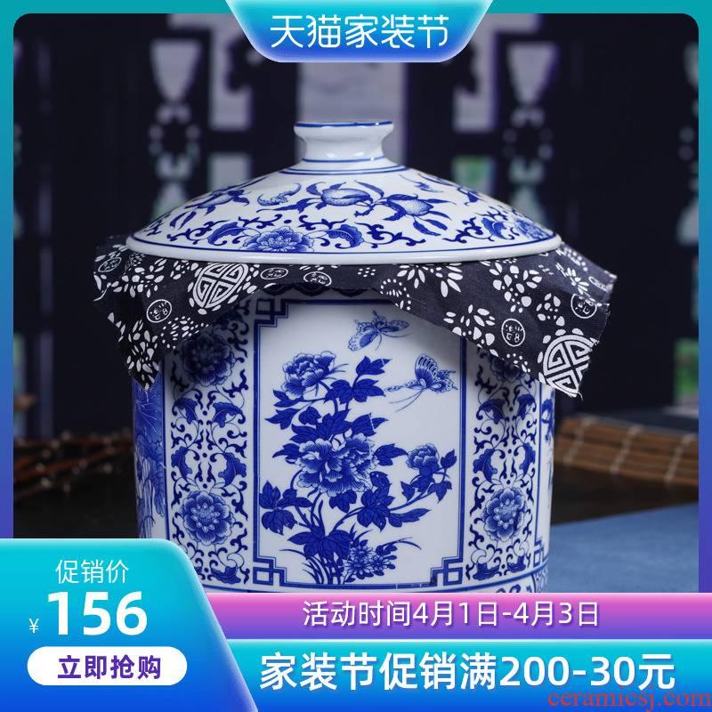 Jingdezhen ceramic tea pot wake receives pu 'er tea cake tin box household seal pot size