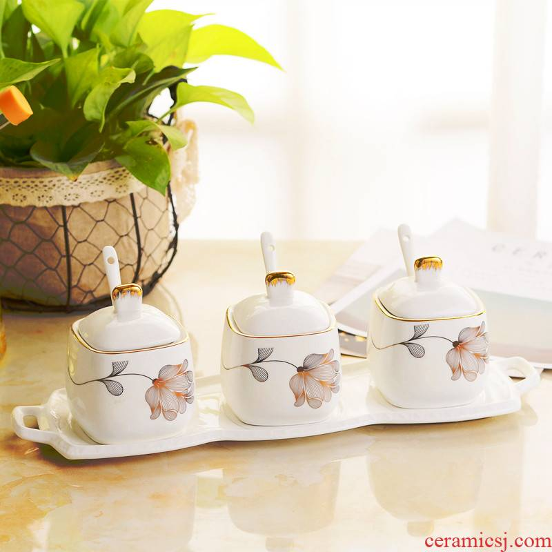 Ipads China square seasoning as cans creative kitchen condiment box of salt shaker European - style ceramics seasoning bottles three suits for