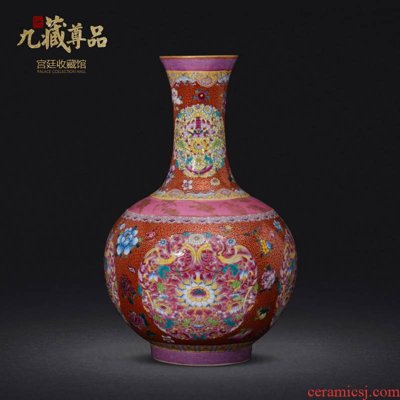 Jingdezhen ceramics imitation the qing qianlong hand - made paint powder enamel bottle collection sitting room home decoration furnishing articles