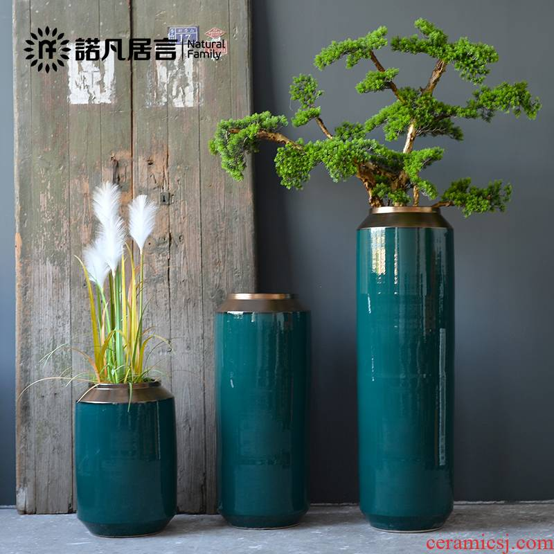 Jingdezhen ceramic vase landing sitting room dry flower arranging furnishing articles blackish green, Nordic I and contracted large flower pot suits for