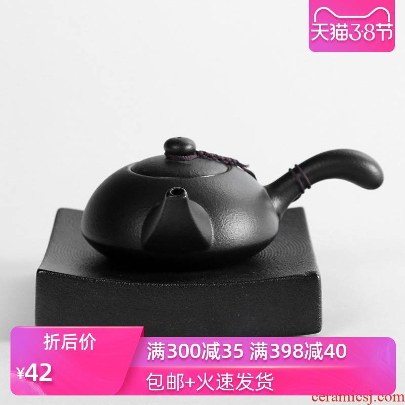 Poly real (sheng coarse pottery lateral put the pot of tea is archaize Japanese black pottery clay kung fu tea set ceramic lid to use in Taiwan