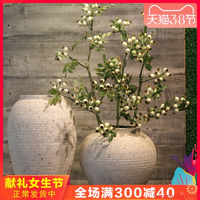Jingdezhen ceramic retro TV cabinet mesa vase decorated living room table study place match simulation artificial flowers