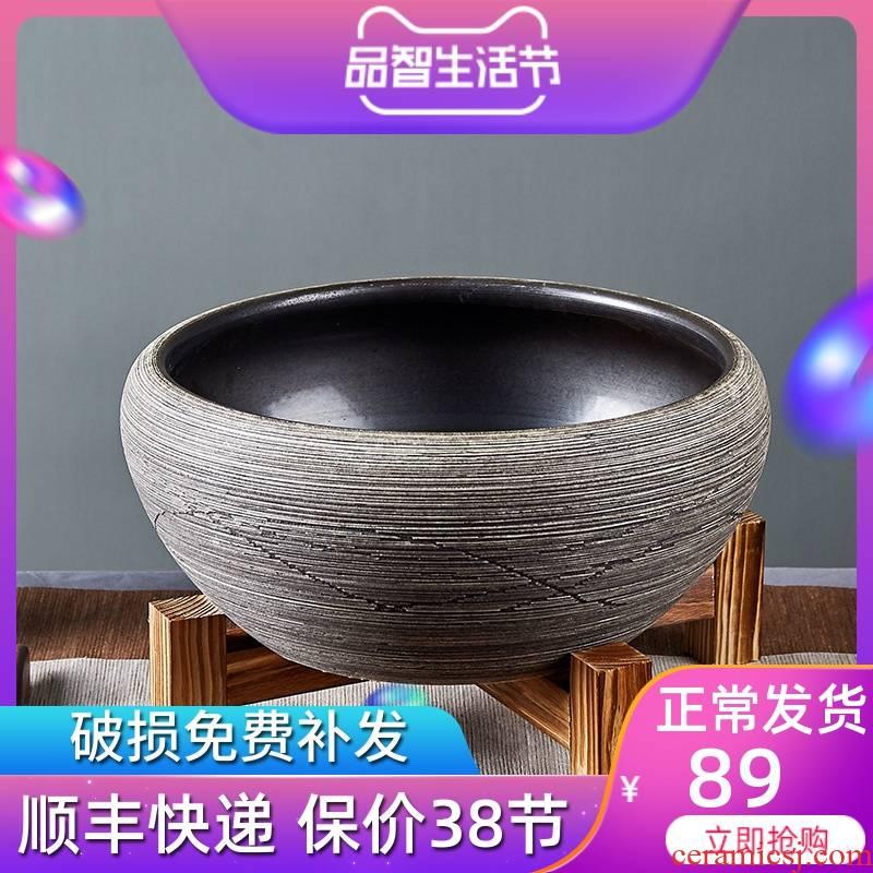 Restoring ancient ways of jingdezhen ceramic aquarium desktop sitting room of small basin of water lily bowl lotus home the tortoise cylinder fish bowl