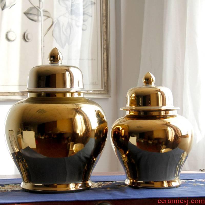 Jingdezhen porcelain vases, POTS manual gold - plated pot - bellied storage tank sitting room home decoration flower arranging furnishing articles