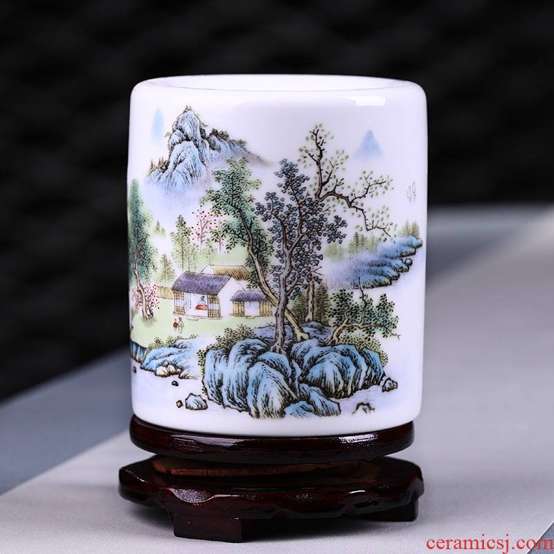 Jingdezhen porcelain brush pot Chinese style restoring ancient ways in plutus desktop furnishing articles furnishing articles writing brush brush pot high - capacity office study