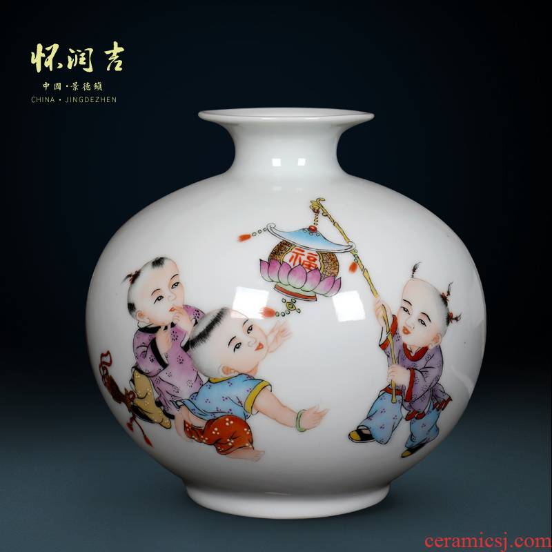 Jingdezhen ceramic porcelain vases modern creative process hand - made the lad vase Chinese style living room office furnishing articles