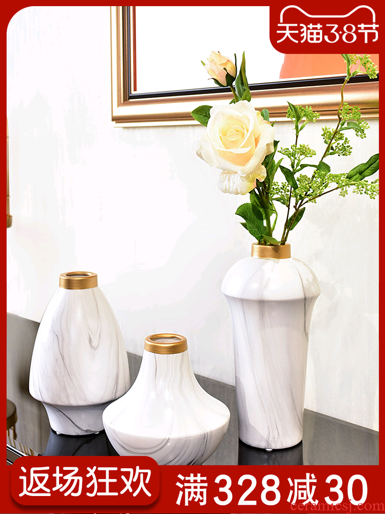 The Nordic marble vase TV ark, furnishing articles ceramic creative contracted and I living room table decoration
