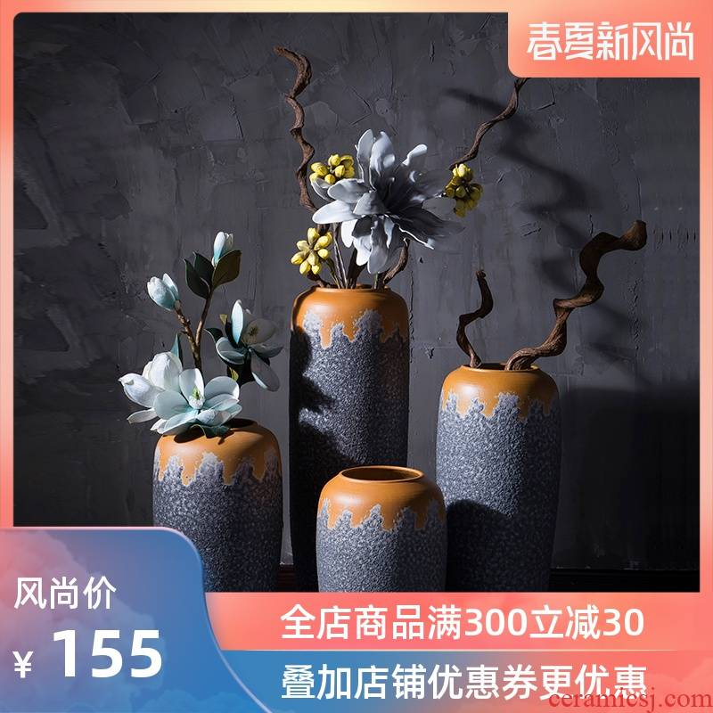 Modern industrial wind restoring ancient ways of jingdezhen ceramic club hotel furnishing articles sitting room window flower arrangement of large vase