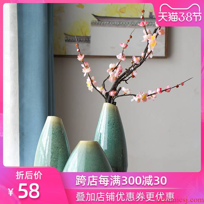 Art show of new Chinese style filter vases, small pure and fresh tea table table flower implement rural individuality creative flower ceramic furnishing articles