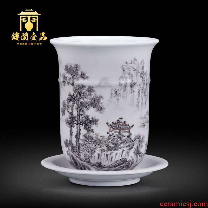 Jingdezhen ceramics all hand - made color ink landscape decoration collection flowerpot play elegant Chinese style household gift porcelain furnishing articles