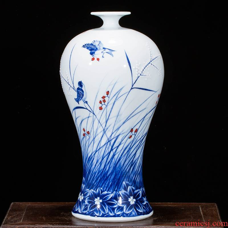 Jingdezhen ceramics hand - made household adornment blue and white porcelain vase wine porch sitting room TV ark, furnishing articles
