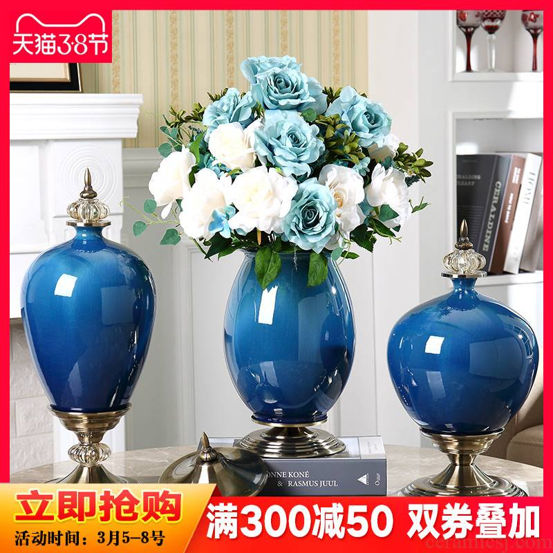 European - style key-2 luxury furnishing articles ceramic vase sitting room American home porch TV ark adornment table dry flower arranging flowers