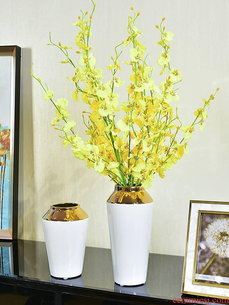 Modern light key-2 luxury ceramic vase hydroponic furnishing articles Jane 's creative living room table simulation flower art flower arranging machine accessories