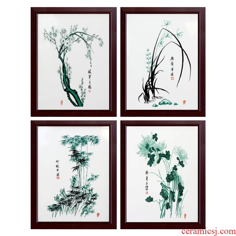 Jingdezhen porcelain plate painting by patterns home sitting room adornment picture four screen to hang a picture to study mural corridor of calligraphy and painting