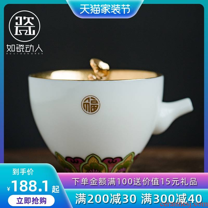 To the as porcelain and moving GongXi colored enamel household suet jade porcelain teapot kung fu tea set small teapot hand grasp pot