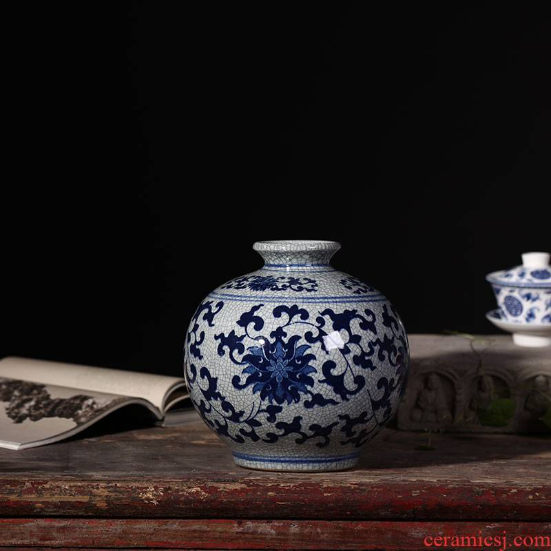Jingdezhen ceramic flower implement archaize up open a piece of blue and white porcelain vases, modern home accessories sitting room place flower arrangement