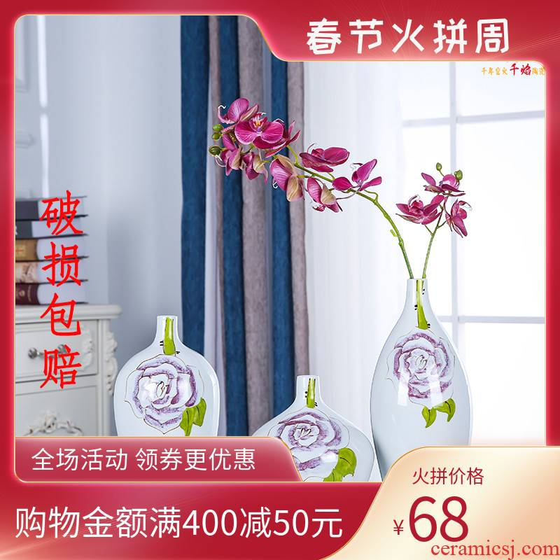 Jingdezhen ceramics hand - made desktop vase peony modern Chinese style is contracted sitting room decoration fashion furnishing articles study