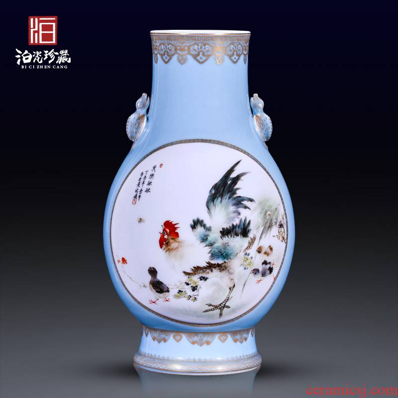 Jingdezhen ceramics hand - made dress long cock decoration of large vases, new Chinese style household furnishing articles